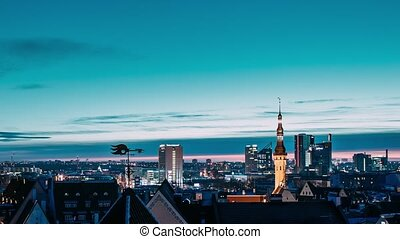 Tallinn, Estonia, Europe. Time Lapse Time-lapse Of Cityscape. Transition From Night To Morning Sunrise. Old Town And Modern City. Famous Landmarks. UNESCO. Zoom In