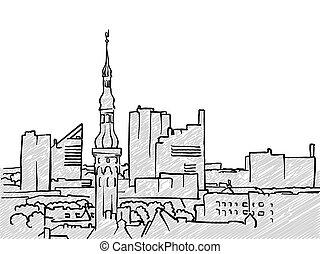 Tallinn, Estonia famous Travel Sketch