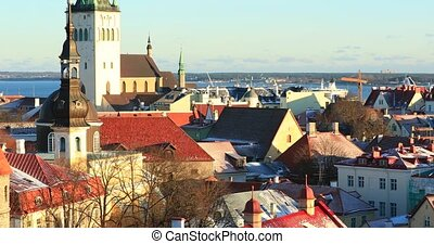 Tallinn, Estonia. Panoramic View Of Part Of Tallinn City...