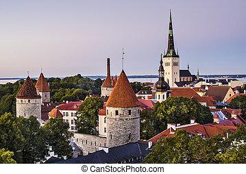 Skyline of Tallinn, Estonia at dusk.