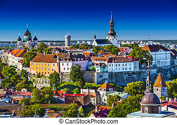 Tallinn Estonia Skyline - Skyline of Tallinn, Estonia at the...