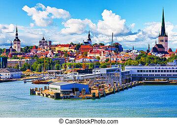 Tallinn, Estonia - Scenic summer view of the Old Town...