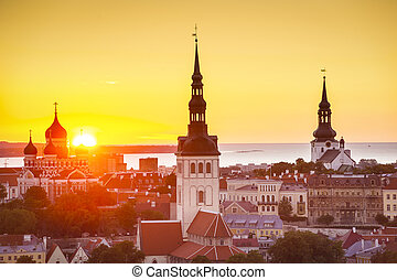 Tallinn Estonia Sunset - Sunset in Tallinn, Estonia at the...
