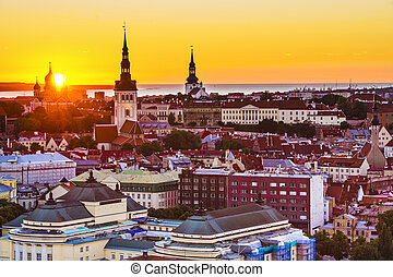 Tallinn Estonia Sunset - Dawn in Tallinn, Estonia at the old...