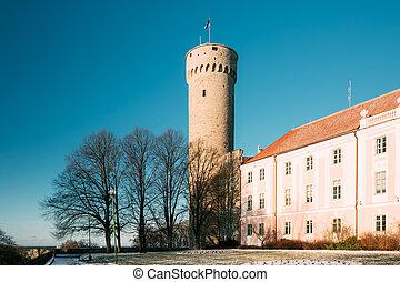 Tallinn, Estonia. View Of Upper Town Castle Corner Tower Tall Hermann