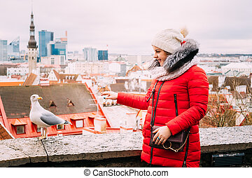 Tallinn, Estonia. Young Beautiful Pretty Caucasian Girl Woman Dr