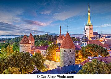 tallinn, histórico, skyline, estónia