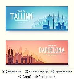 tallinn, i, barcelona, sławny, miasto, scapes.
