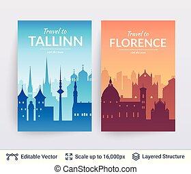 tallinn, i, florencja, sławny, miasto, scapes.