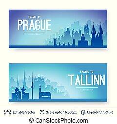 tallinn, i, praga, sławny, miasto, scapes.