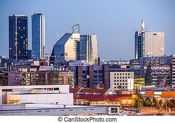 tallinn, modernos, skyline, estónia