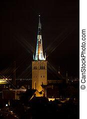 tallinn, noturna, estónia, igreja