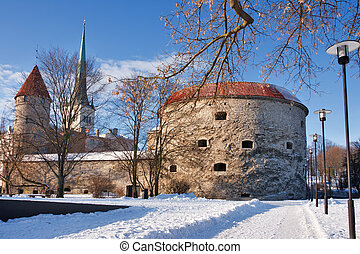 Tallinn - old town. Estonia - Winter landscape with old...