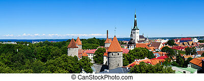 tallinn panorama - panorama landscape with tallinn in...