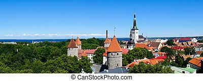 tallinn panorama - panorama landscape with tallinn in...