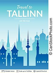 tallinn, sławny, miasto, scape.