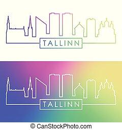 tallinn, skyline., barwny, linearny, style.