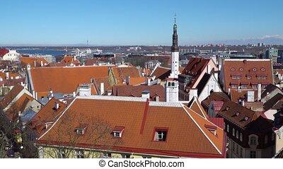 Tallinn skyline, Estonia. Aerial view of Estonia. Tallinn...