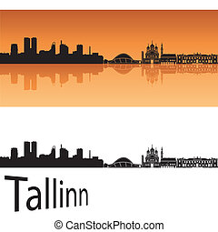 Tallinn skyline in orange background in editable vector file