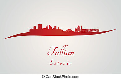 Tallinn skyline in red and gray background in editable...