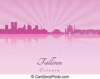 tallinn, sylwetka na tle nieba, w, purpurowy, radiant,...