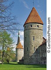 tallinn., torres, fortificação