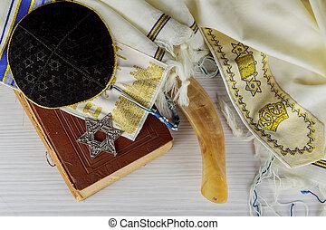 tallit, judeu, mantô, -, símbolo., foco, seletivo, oração,...