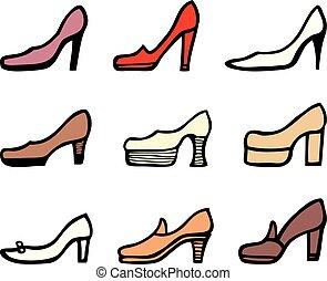 talloni, alto, set, scarpe, femmina