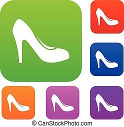talloni, set, scarpa, collezione, donne