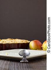 tallrik, äpple, la, pastej, färdig, sätt