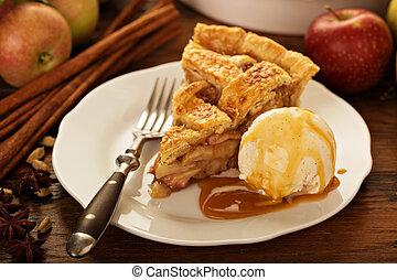 tallrik, äpple tårta, is, stycke, grädde