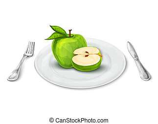 tallrik, äpple