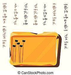 tallrik, bord, lera, sten, forntida, illustration, egypten