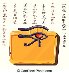 tallrik, eller, lera, sten, bord, ögon, horus