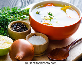 tallrik, fish, tjänat, bord, soppa