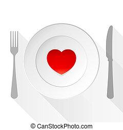 tallrik, kärlek, valentinbrev