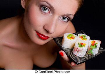 tallrik, kvinna räcka, matjapan, nätt