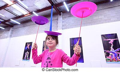 Litet, jojo, expertis, cirkus, barn, erfara, instruktör ...