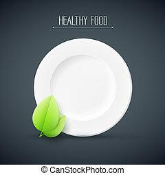 tallrik, med, frisk mat, text