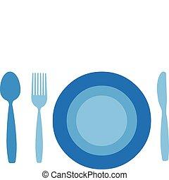 tallrik, med, gaffel, kniv, och, sked, isolerat, vita,...