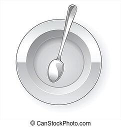 tallrik, middag, sked, tom