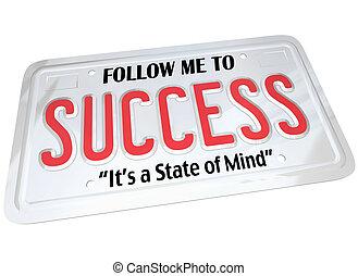 tallrik, ord, framgång, licens, framgångsrik, framtid, följa...