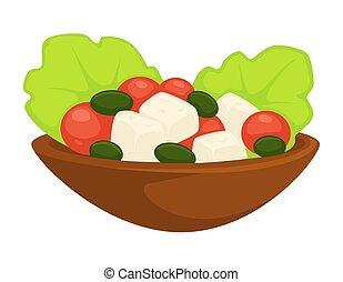 tallrik, sallad, måltiden, grek, vektor, tjänat, caesar