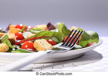 tallrik, sallad mat, lunch, hälsa, bord, grön