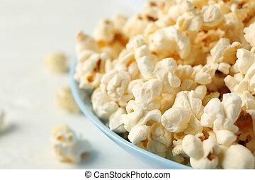 tallrik, utrymme, text, bakgrund, popcorn, vit