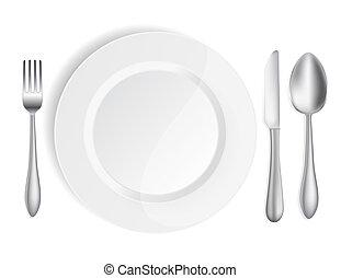 tallrik, vit, gaffel, sked, kniv