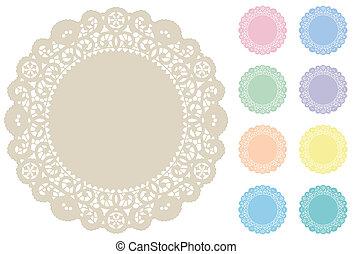 tallriksunderlägg, pastellfärger, mats, plats, spets