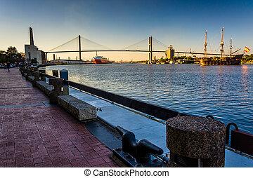 Talmadge Memorial Bridge over the Savannah River in Savannah, Ge
