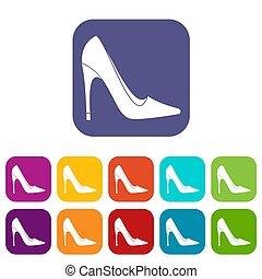 talon, élevé, ensemble, chaussure, icônes, plat