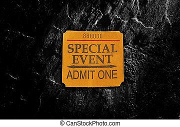 talon, billet, événement, spécial